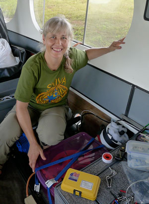 Photo: Jennifer Krauel on the airship with the bat detector