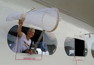 Photo: Jennifer Krauel on the airship with the insect net