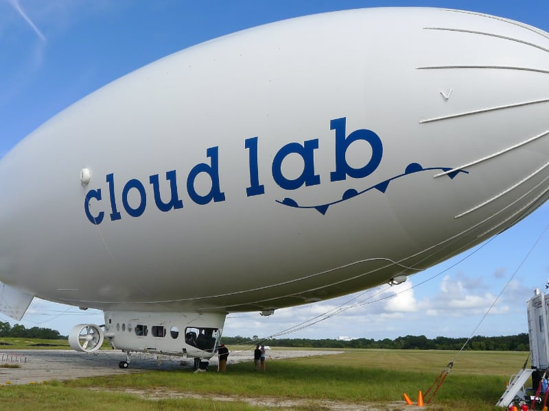 Photo: BBC cloud lab airship on the ground in Florida