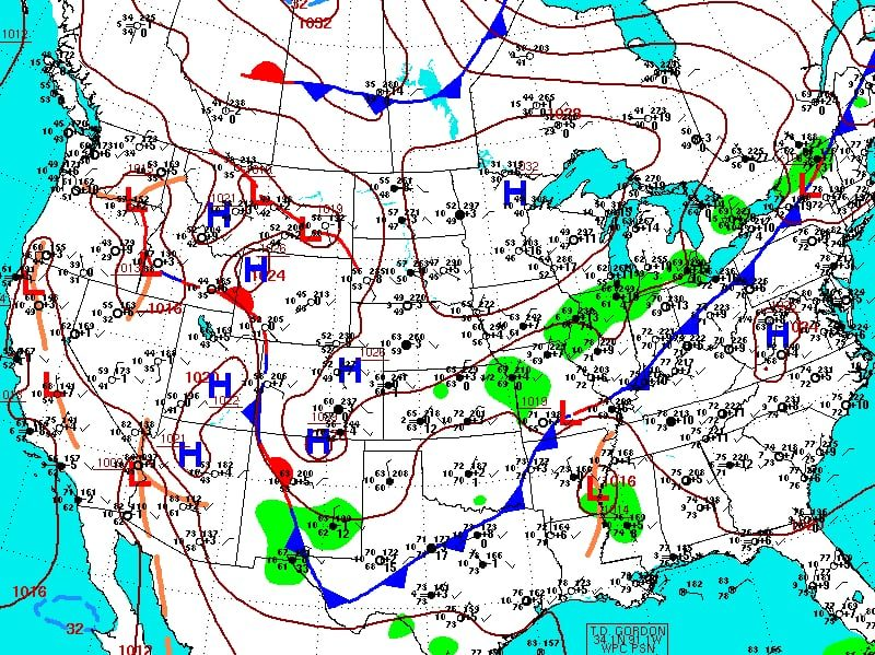 Map of fronts, high and low pressure, and wind over the US