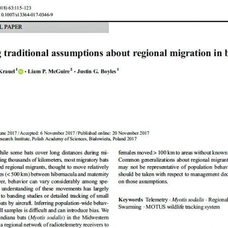 Screen shot: Testing traditional assumptions about regional migration in bats