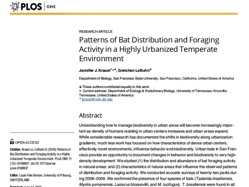 Screenshot: Patterns of Bat Distribution and Foraging Activity in San Francisco