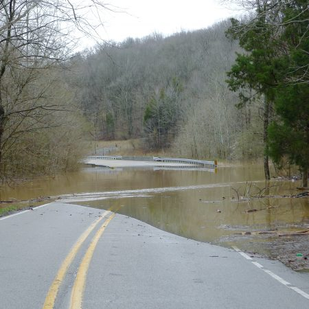 Photo: View of submerged road in southern Indiana